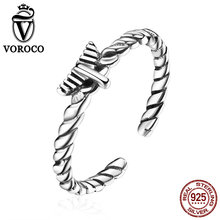 VOROCO Vintage Ring 925 Sterling Silver Jewelry 2mm Hemp Rope Open Finger Adjustable Finger Cuff Rings for Women Gift