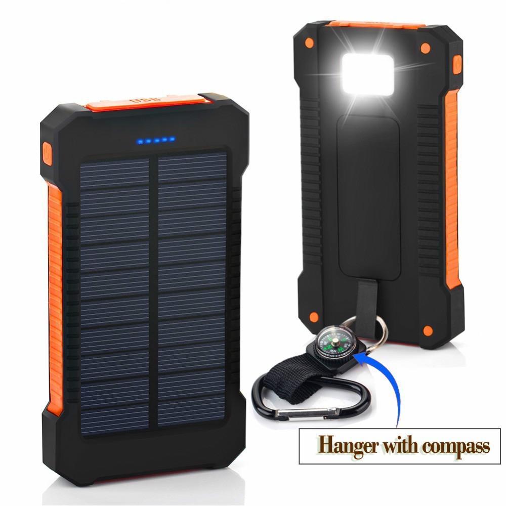 Top Waterproof Solar Power Bank 30000mah Dual USB Solar Battery Charger powerbank for iphone samsung huawei