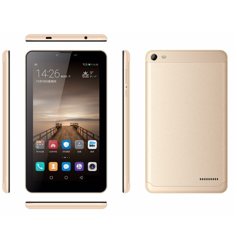 Glavey Mtk8321 Quad Core Tab8  Tablet PC HD IPS Sreen Android 6.0 1GB/8GB  1024x 600 7inch 3G Phone Call Black Gold Tablet