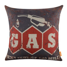 LINKWELL 45x45cm Retro Man Cave Gas Rustic Grey Red Linen Cushion Covers Pillowcase Home Decor Sofa Decor Outdoor