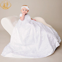 Nimble White Children Girl Dresses Lace Newborn Dress Baby Baptism Christening Gowns with Hairband недорого