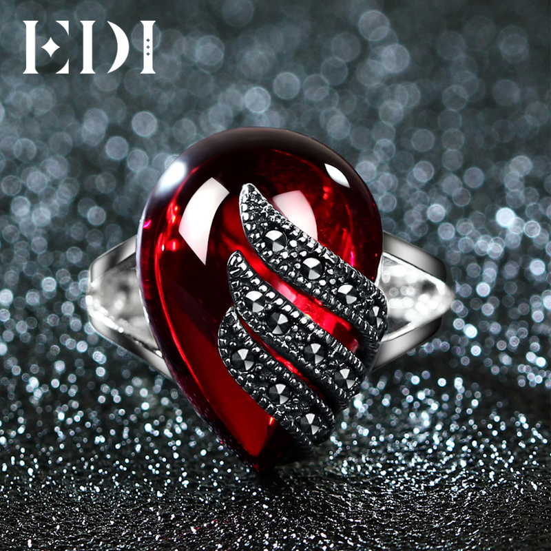 EDI Unique 925 Sterling Silver Ring 5ct Simulated Garnet Party Ring For Women Water Drop Shape Fine Jewelry Gifts edi trendy swan shape animal 100% 925 sterling silver rings for women ctue jewelry christmas gifts