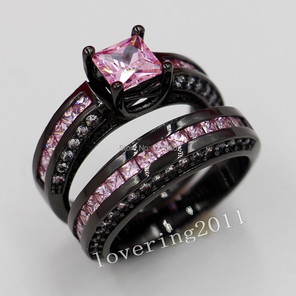 Choucong Engagement Pink Sapphire Simulated Diamond 10kt Black Gold Filled  2 Wedding Band Ring Sets Sz