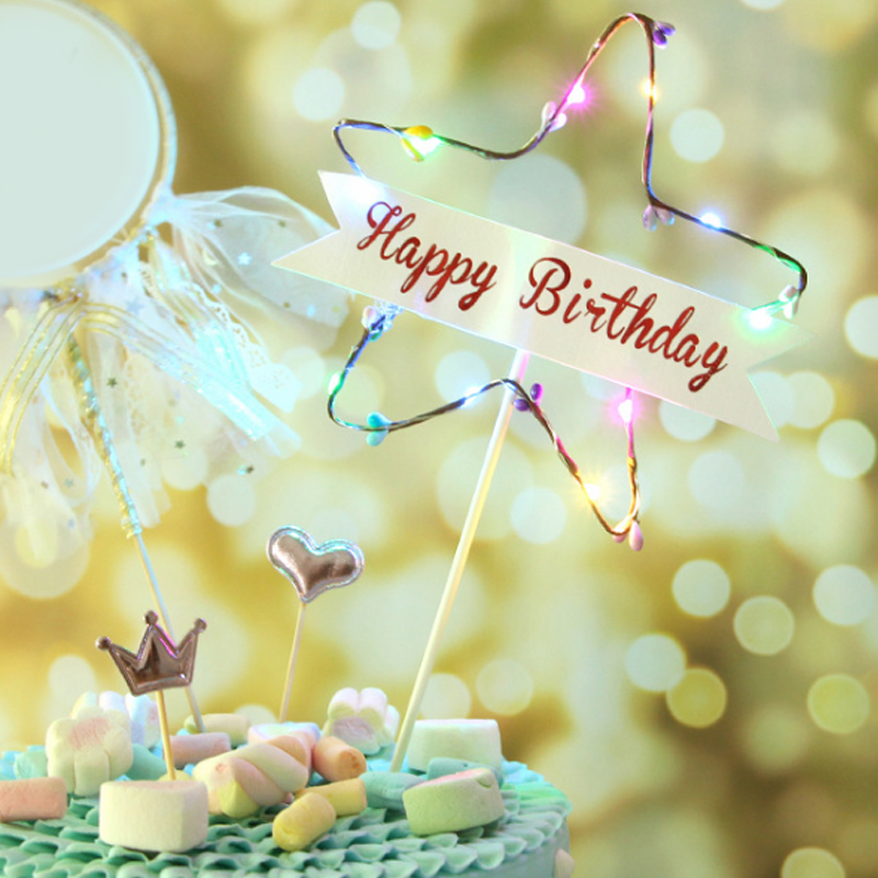Amazing Coloured Lights Happy Birthday Creative Cake Inserts Paper 1Pcs Birthday Cards Printable Riciscafe Filternl