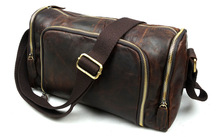 Vintage 100% Guaranteed Genuine Leather Bag Men Messenger Bags Crazy Horse Leather Shoulder Bags Fashion Crossbody Bags #VP-B349