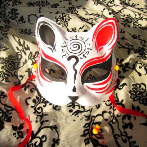 Half Face Hand Painted Japanese Fox Mask Kitsune font b Naruto b font Pattern font b