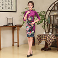 New Spring High-grade Lady Elegance Dress Women Traditional Dress Chinese Qipao Female Silm Cheongsam Flower Short Dress 16