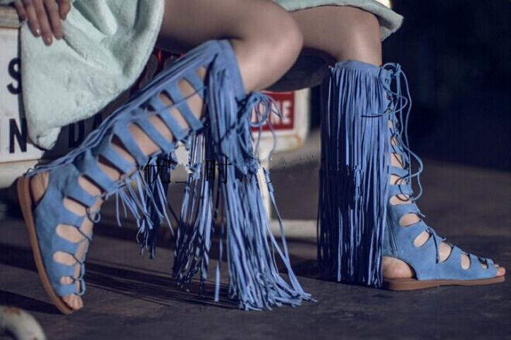 Free shipping hot selling designer long tassels cut-outs woman summer lace up knee boots back zipper gladiator sandal boots brand designer faux leather strappy roman goth gladiator thong lace up bandage sandals knee high boots flat shoes free shipping