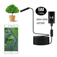 ZCF99 5 מטר קשיח כבל אנדוסקופ wifi אלחוטי USB פיקוח מצלמה עמיד למים borescope מצלמה עם מתכוונן 8 LED אורות