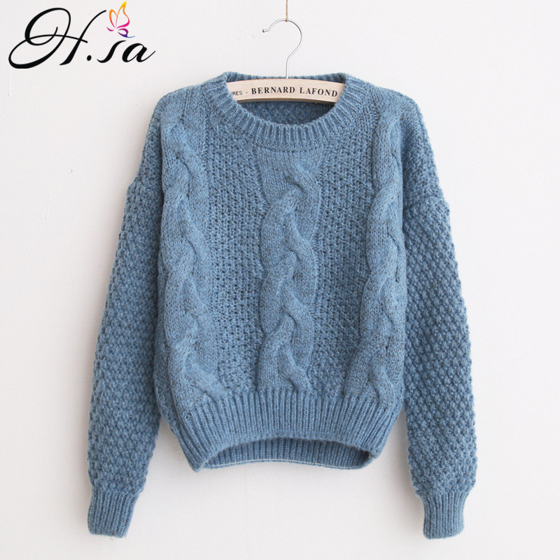 Товар H.SA Women Sweaters Warm Pullover and Jumpers Crewneck Mohair  Pullover Twist Pull Jumpers Autumn 2017 Knitted Sweaters Christmas - 363a13c9b