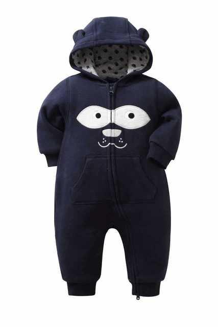 Moneky bonito Dos Desenhos Animados Macacão de Bebê Recém-nascidos Filhos de Algodão Two-way Zipper Treino Bebê Menino Roupas de Inverno Vestido Infantil Com Capuz