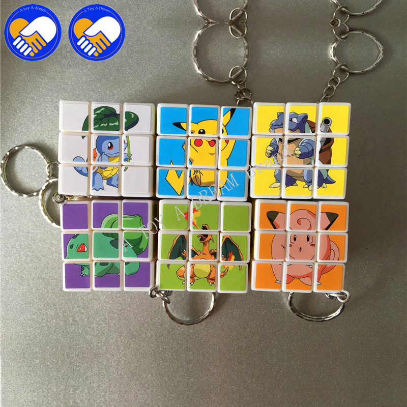 1 Piece Colorful Cartoon Naruto & Pikachu Stickers Cubes Keychain MODEL 3x3x3 Magic Cubes not Rotating Action Cube Figures Toys