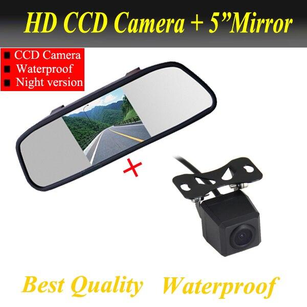 2на1 CCD универсальная резервную парковка водонепроницаемая камера обратный камера заднего вида 5 дюймов монитор автомобиля зеркало TFT LCD