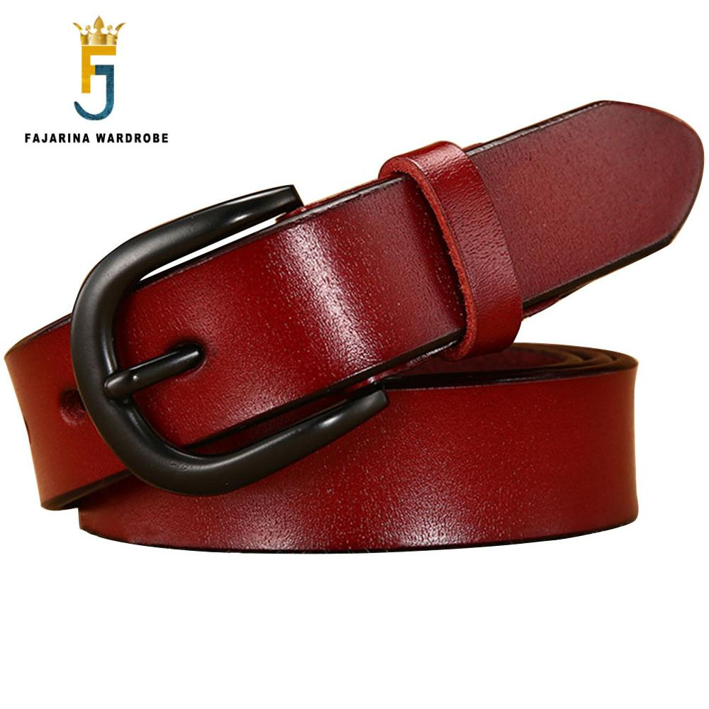 FAJARINA Ladies 2.8cm Wide Quality Genuine Leather Retro Styles Belt Fashion Black Pin Buckle Belts Accessories Women N17FJ672
