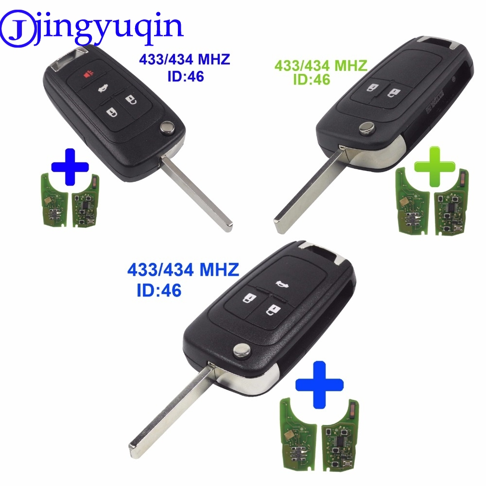 jingyuqin 2/3/4 Buttons PCF7937E 433MHz With ID46 Chip Flip Folding Key Shell Cover For Chevrolet Cruze Remote Key Fob