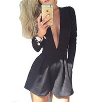 2015 New Arrival Summer Fashion Rompers Women Black Sexy Club Long Sleeve Jumpsuit Deep V Neck