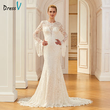 Dressv lace elegant long wedding dress court train long sleeves mermaid bridal gowns outdoor&church trumpet wedding dresses(China)