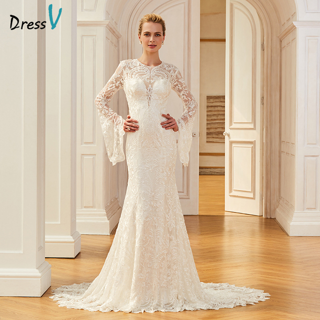 Dressv lace elegant long wedding dress court train long sleeves mermaid  bridal gowns outdoor church trumpet wedding dresses 7f72d821a3d2