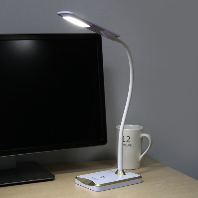 New LED Desk Lamp Touch Dimmable Eye Protection Bedside Book Reading Study Office Work Table Lamp+Free 2pcs Wireless Charger