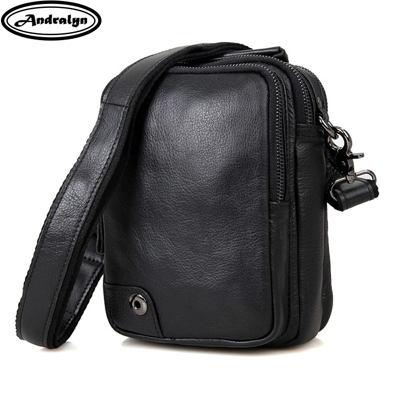 Andralyn 2018 New Brand Men Shoulder Bag High Quality Men's Black Genuine Leather Business Casual Crossbody Bag for Mini IPad andralyn розовый цвет номер l