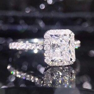 Image 3 - STARYEE 1CT Radyant kesim moissanit Nişan Yüzüğü Gerçek 18 K Beyaz Altın Pırlanta Güzel Takı Kadınlar Için Charles Colvard VS F taşlar