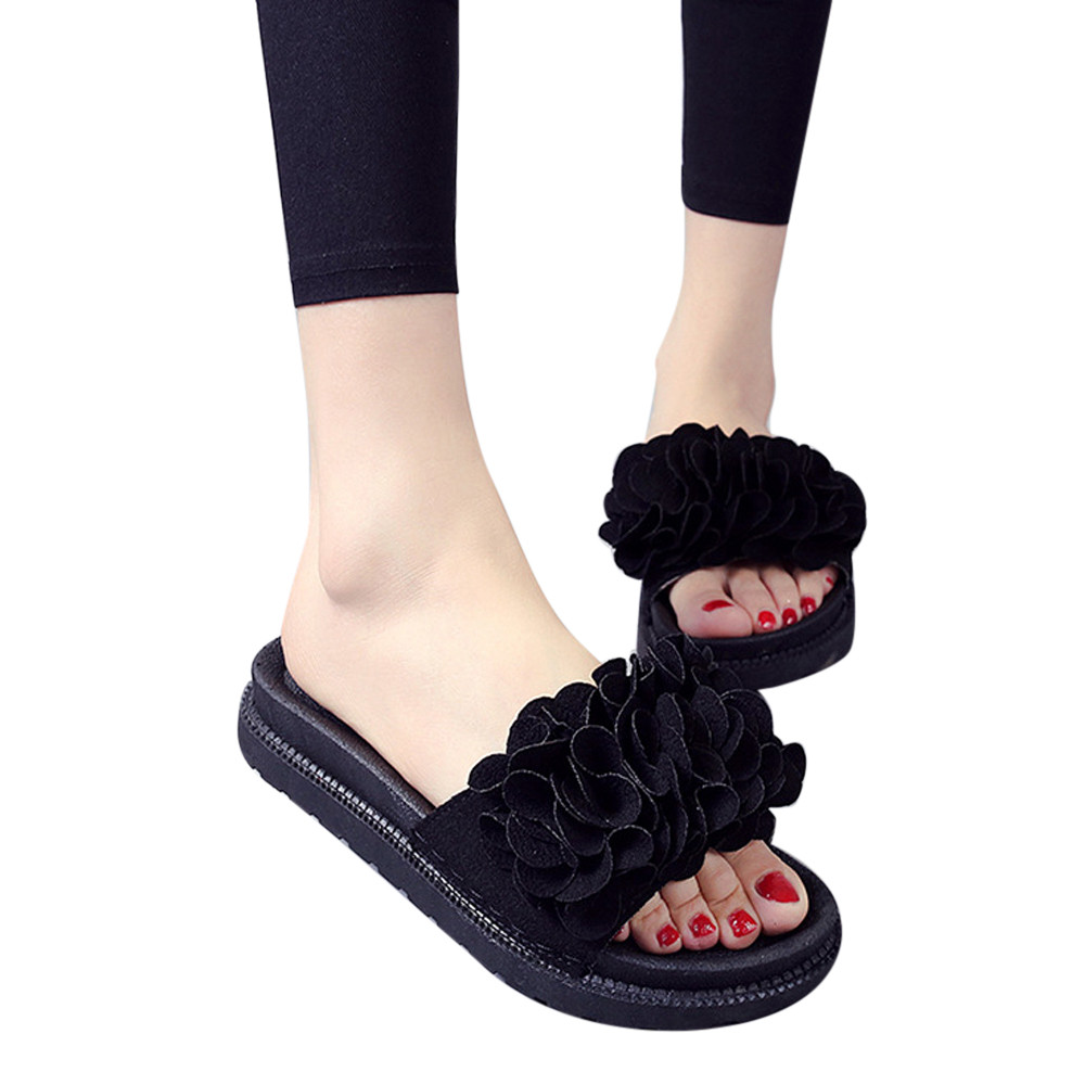 xiniu Women Fashion 2018 new summer Round Solid Color Flower Thick Bottom Flat shoes Sandals Slipper Summer Open Toe Sandals lastest women summer sweet sandals slipper fashion solid color suede flower bow hasp flat heel square toe sandals schuhe damen