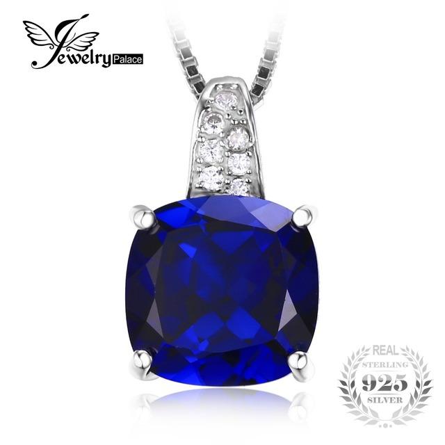 Jewelrypalace cojín 4.9ct creado azul zafiro colgante solitario no incluyen la cadena de plata de ley 925 colgante de joyería fina