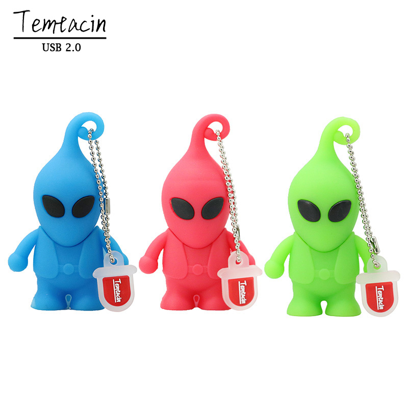 USB Flash 2.0 Memory Drive Stick Cartoon Alien USB Flash Drives Pen Drive Creativo Memory Stick 4GB 8GB 16GB 32GB 64GB USB Drive