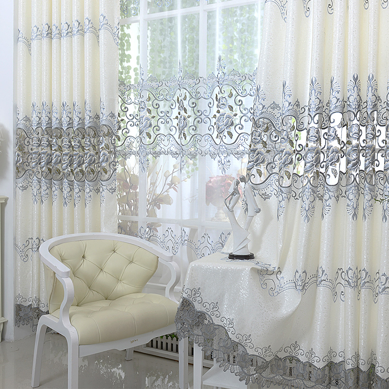 Modern Curtain Grey Embroidered Voile Curtains For Living