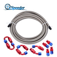 ESPEEDER 5Meter An8 Teflon Braided Oil/Fuel Hose With 0+45+90+180 Degrees Teflon Fittings AN8 Conversion Fitting End Adaptor Kit