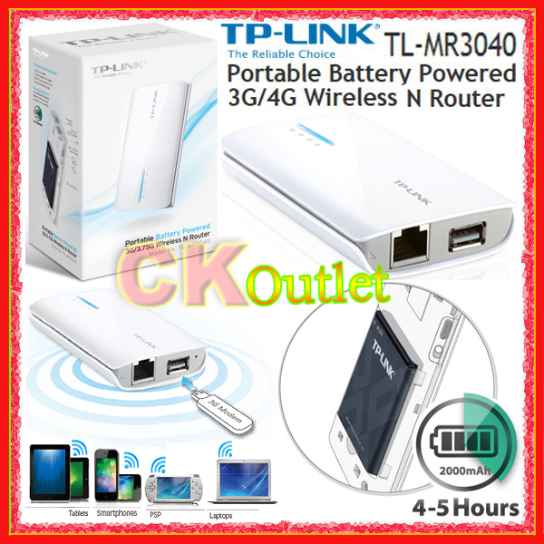 TP Link TL MR3040 Portable Li Ion Battery Powered 3G/4G Wireless N