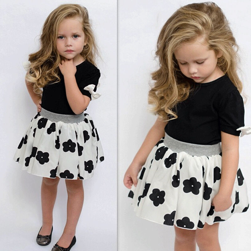 summer style Girls clothing set baby girl's clothes sets cartoon flower children kids T shirt + skirt the casual cute suit