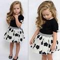 Estilo do verão conjunto de roupas Meninas do bebê roupas conjuntos da menina dos desenhos animados flor dos miúdos das crianças T shirt + saia casual bonito terno