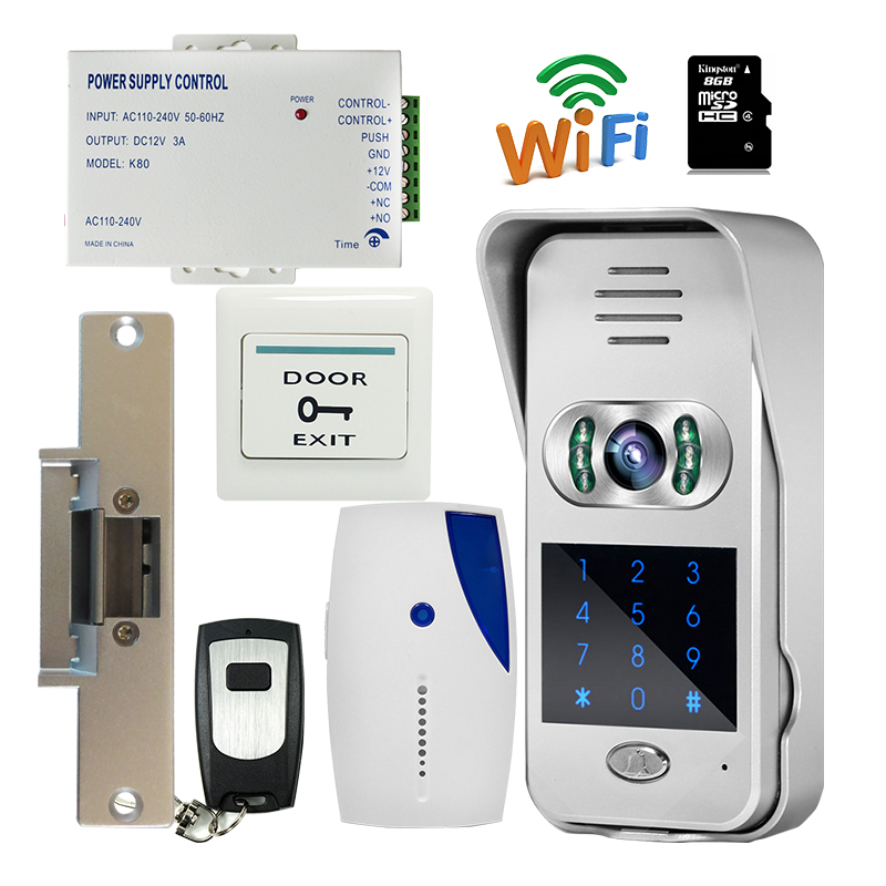 bilder für Freies Verschiffen Neue Wasserdichte Code/Tastatur Drahtlose Wifi 720 P Türklingel Video Intercom für Android IOS Streik türschloss + 8G TF