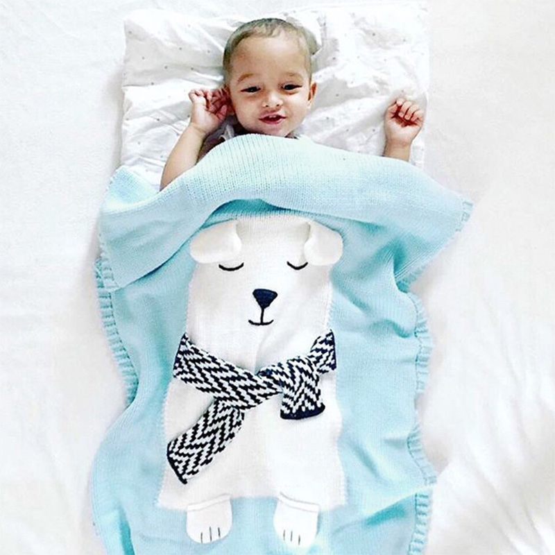 White Bear Pattern Three-dimensional Ears Blanket Baby Knitted Blanket Warm Cartoon Knitting Wool Blanket Baby Toddler Bedding