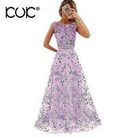 Kuk Vestido Longo Floral Embroidery Maxi Dress Women Pink Purple Elegant Evening Party Long Dress XXL Plus Size A798