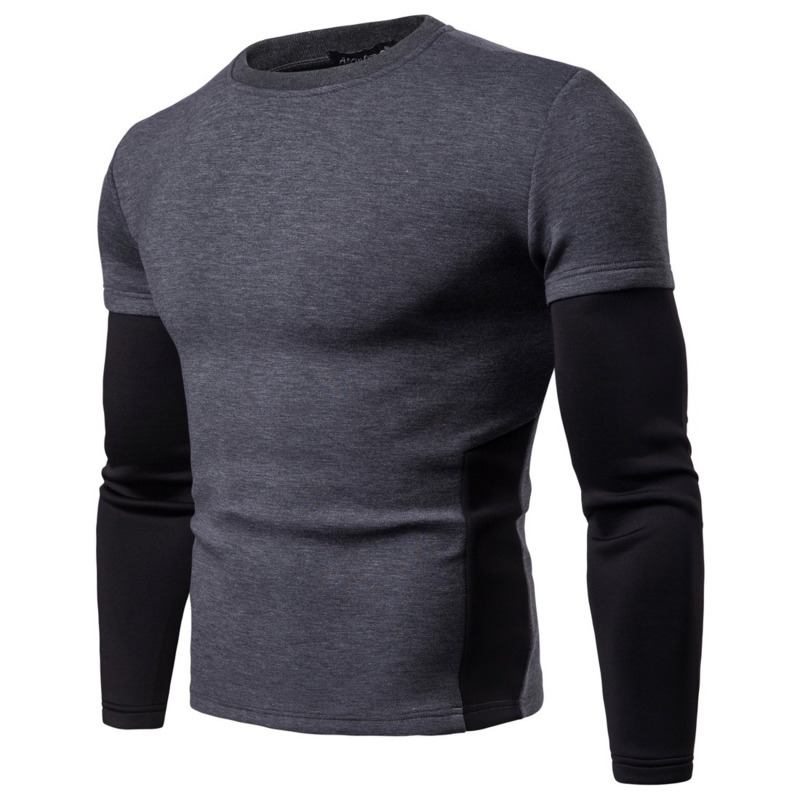 Mens Autumn Winter New Style Long Sleeve Stitching Sleeves Pullover Hoodie Men Casual Hoodies Male Tops