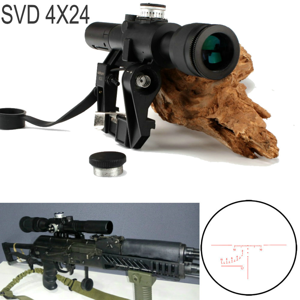 ohhunt Tactical Red Illuminated 4x24 PSO-1 Type Riflescope for Dragonov SVD Sniper Rifle Series AK Rifle Scope for Hunting ohhunt tactical red illuminated 4x24 pso 1 type riflescope for dragonov svd sniper rifle series ak rifle scope for hunting