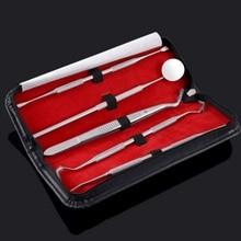 5 keping Pergigian Pergigian Tools Stainless Steel pinset Mouth Mirror Probe Clean Handle Mirror To Remove Kalkulus Pergigian 7041