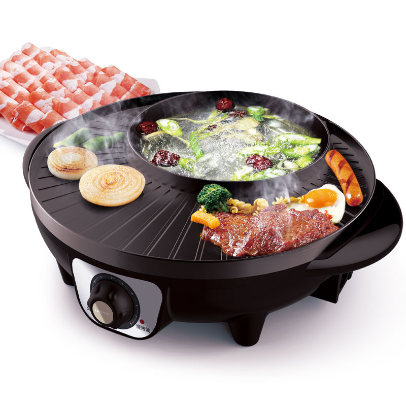 цены 220V Electric Barbecue Grill Hot Pot Multifunctional Cooker 2 In 1 Non-stick Electric Hot Pot BBQ Griddle For Family party