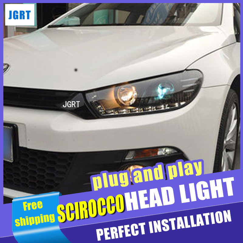 Car Styling for VW Scirocco Headlight assembly Scirocco R LED Headlight DRL Lens Double Beam H7 with hid kit 2pcs. hireno headlamp for volkswagen tiguan 2017 headlight headlight assembly led drl angel lens double beam hid xenon 2pcs