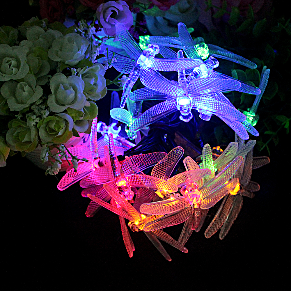 8 Modes 20 LED Decoration String Lamps Dragonfly Shape Solar Powered Garden Patio  Lights Outdoor Decoration