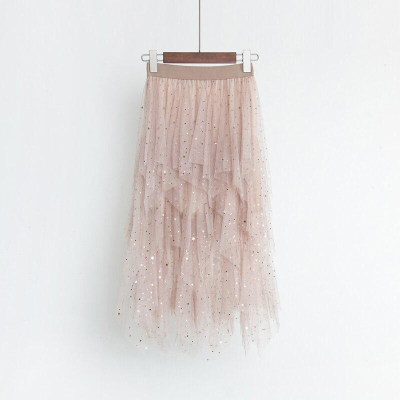16c72b7eea0fae Casual Women Bubble Skirt Elastic High Waist Girls Lace Skirt Sequin Summer Embroidery  Mesh Tutu Pleated Skirt Midi Faldas Saias-in Skirts from Women's ...