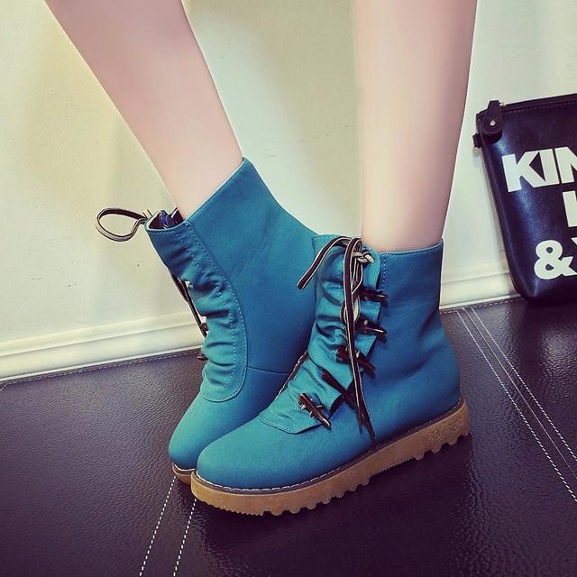 El envío libre 2016 cuñas insignia alta cordón zapatos con alzas ocasionales femeninos zapatos de lona del top del alto botas de cuña de las mujeres zapatos casuales