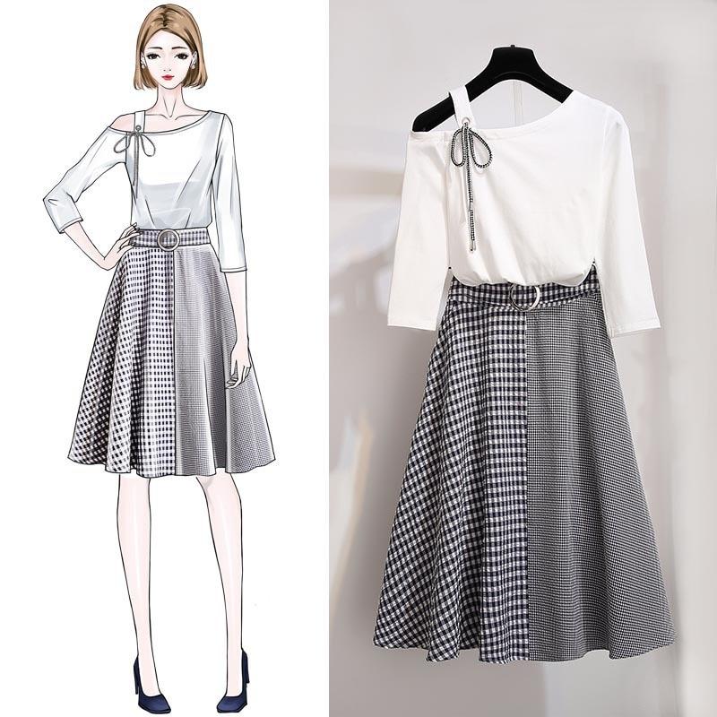 ICHOIX 2019 Korean Style 2 pieces skirt sets summer sweet plaid two-piece women elegant suits S-XL outfits