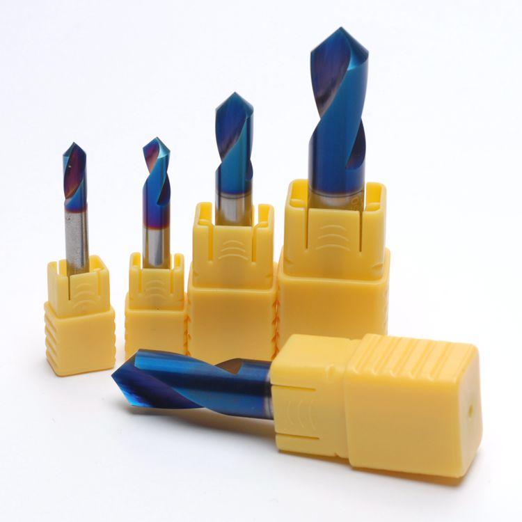 Купить с кэшбэком 1PC HRC65 3MM 4MM 5MM 6MM 8MM 10 12mm 90 Degree Spot Drill Bit for Machining Hole Drill Chamfering Tools Tungsten Carbide Steel