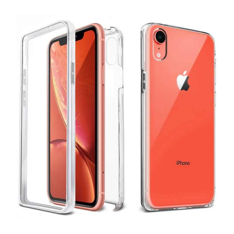 360 องศาป้องกันด้านหน้า + ด้านหลังสำหรับ iPhone 11 PRO MAX 6 6S 7 8 PLUS X XR XS MAX 5 SE โปร่งใสซิลิคอนนุ่มปกคลุม