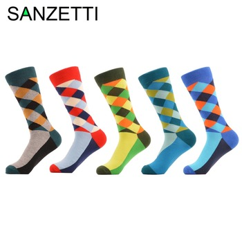 SANZETTI 5 pair/lot Man Diamond Colorful Funny Sock Spring Autumn Socks grid Socks MEN Mixed color In the summer