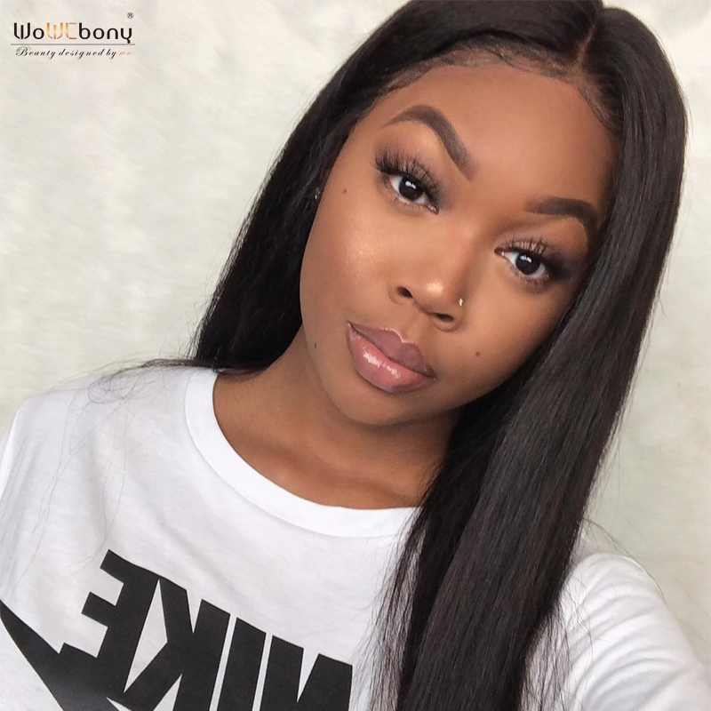 WoWEbony 360 Lace Wigs Indian Remy Hair Natural Straight Human Hair Lace Wigs For Black Women Pre-plucked Hairline [360NS01]