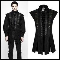 PUNK RAVE Men Steampunk Rock Black Vest Coat Fashion Cool Performance Formal Party Jacket Coat Gothic Waistcoat Men's Vest